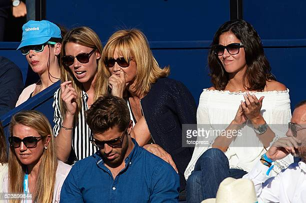 Rafael Nadal's girlfriend Xisca Perello sister Isabel Nadal and mother Ana Maria Parera are seen during day seven of the Barcelona Open Banc Sabadell...