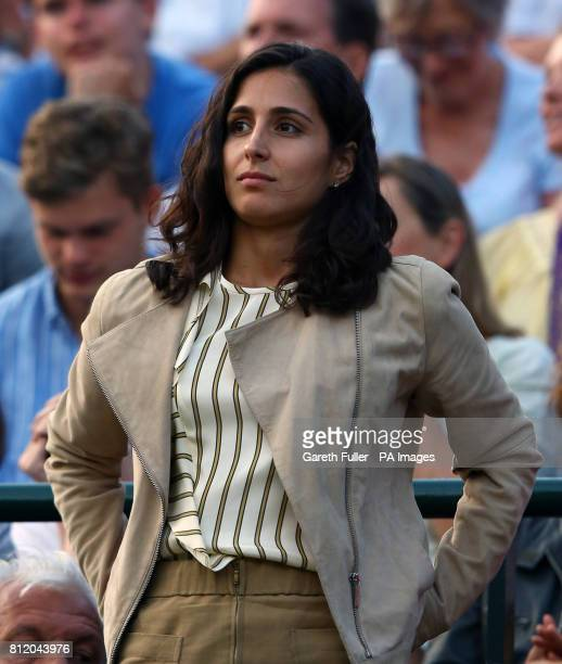 Rafael Nadal's girlfriend Xisca Perello watches him in action against Gilles Muller on day seven of the Wimbledon Championships at The All England...