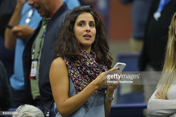 Rafael Nadal's girlfriend Xisca Perello watches him play against Dusan Lajovic of Serbia & Montenegro on Day Two of the 2017 US Open at the USTA...