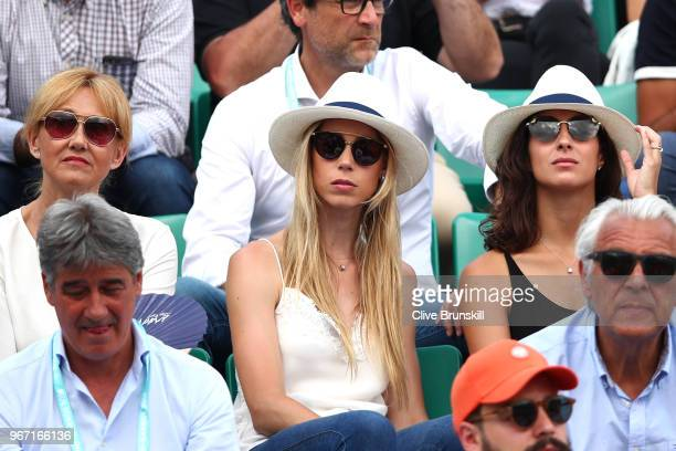 Rafael Nadal's mother Ana Maria Parera sister Maria Isabel Nadal and girlfriend Xisca Perello watch on during his mens singles fourth round match...