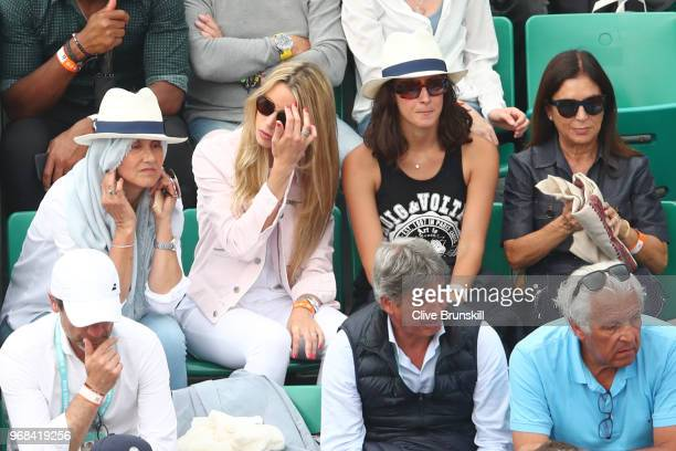 Rafael Nadal's mother Ana Maria Parera sister Maria Isabel Nadal and girlfriend Xisca Perello watch on during his mens singles quarter finals match...