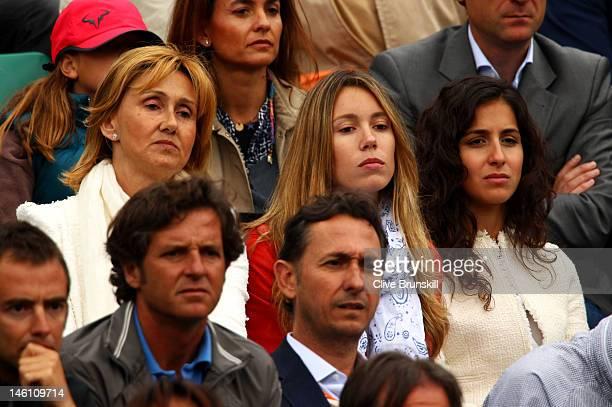 Rafael Nadal's mother Ana Maria Perera sister Isabel Nadal and girlfriend Xisca Perello watch the men's singles final between Novak Djokovic of...