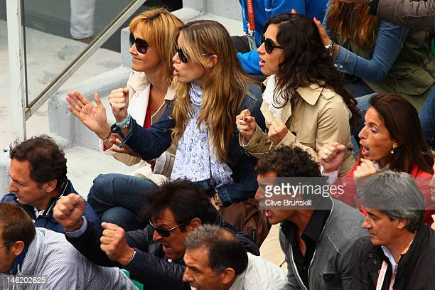 Rafael Nadal's mother Ana Maria Perera sister Isabel Nadal and girlfriend Xisca Perello celebrate during his men's singles final against Novak...