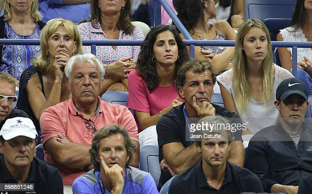 Rafael Nadal's parents Ana Maria Parera and Sebastian Nadal Xisca Perello sister Isabel Nadal attend his second round match on day 3 of the 2016 US...