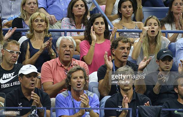 Rafael Nadal's parents Ana Maria Parera and Sebastian Nadal Xisca Perello sister Isabel Nadal bottom uncle/coach Toni Nadal assistant coach Francisco...