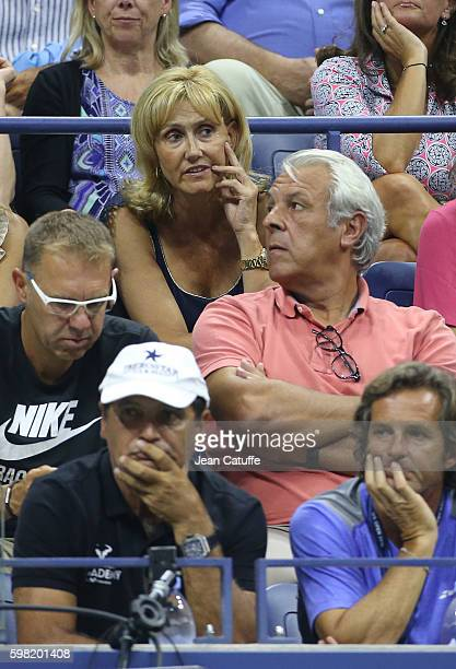 Rafael Nadal's parents Ana Maria Parera Sebastian Nadal and his uncle/coach Toni Nadal attend his second round match on day 3 of the 2016 US Open at...