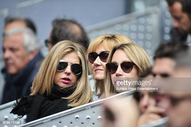 Rafael Nadal's sister Maribel Nadal and mother Ana Maria Parera attend the tennis match during 8th day of the Mutua Madrid Open tennis tournament at...
