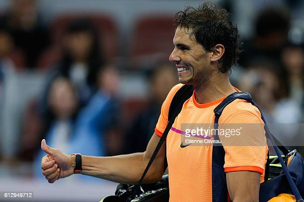 Rafael Naldal of Spain celebrates his victory against Adrian Mannarino of France during the Men's singles third round match on day six of the 2016...