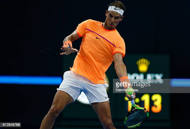Rafael Naldal of Spain returns a shot against Adrian Mannarino of France during the Men's singles third round match on day six of the 2016 China Open...