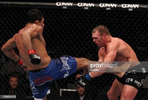 Rafael Natal kicks Paul Bradley during a middleweight bout at UFC 133 at Wells Fargo Center on August 6, 2011 in Philadelphia, Pennsylvania.