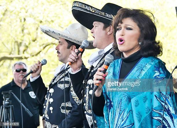Rafael Negrete Arturo Peniche and Angelica Maria perform during the Que Bonito Amor presentation at the Festival Cinco de Mayo in Flushing Meadows...