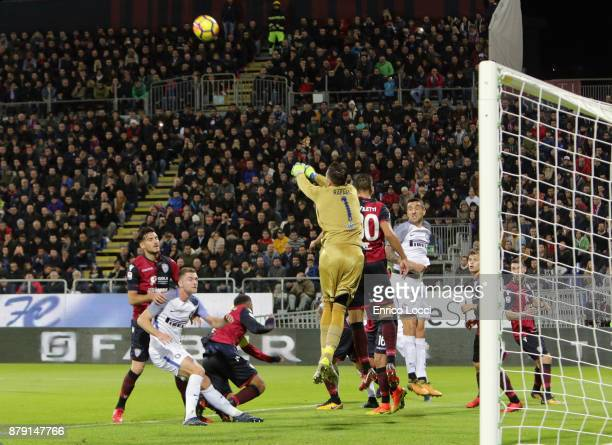 Rafael of Cagliari in action during the Serie A match between Cagliari Calcio and FC Internazionale at Stadio Sant'Elia on November 25 2017 in...