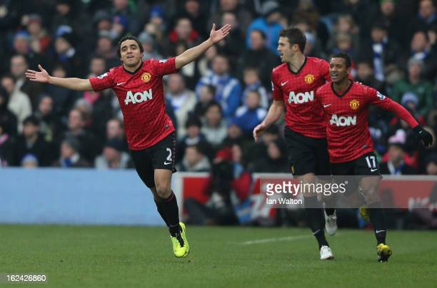 Rafael of Manchester United celebrates scoring the first goal during the Barclays Premier League match between Queens Park Rangers and Manchester...