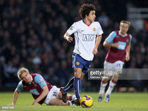 Rafael of Manchester United in action during the Barclays Premier League match between West Ham United and Manchester United at Upton Park on...