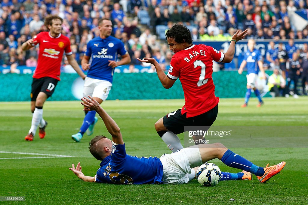 Rafael of Manchester United reacts after bringing down Jamie Varley of Leicester City in the penalty area during the Barclays Premier League match between Leicester City and Manchester United at The King Power Stadium on September 21, 2014 in Leicester, England.