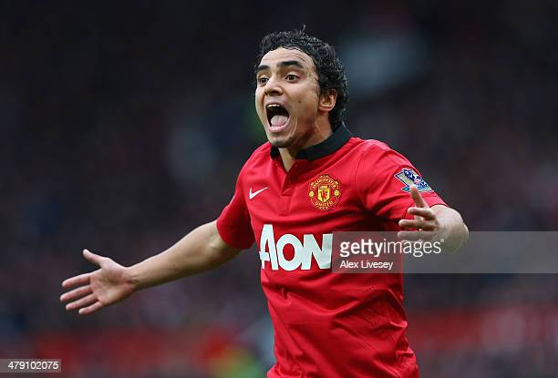 Rafael of Manchester United reacts during the Barclays Premier League match between Manchester United and Liverpool at Old Trafford on March 16, 2014...