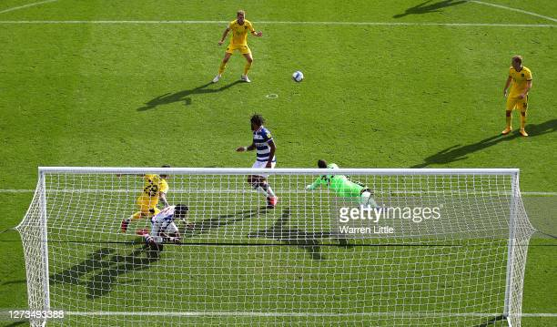 Rafael of Reading makes a save during the Sky Bet Championship match between Reading and Barnsley at Madejski Stadium on September 19 2020 in Reading...