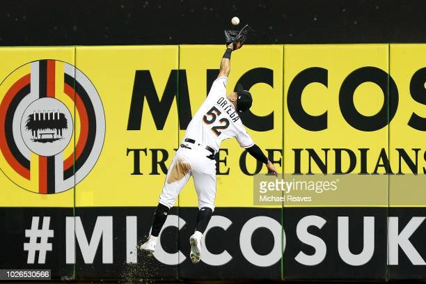 Rafael Ortega of the Miami Marlins makes a catch in the sixth inning against the Philadelphia Phillies at Marlins Park on September 3 2018 in Miami...