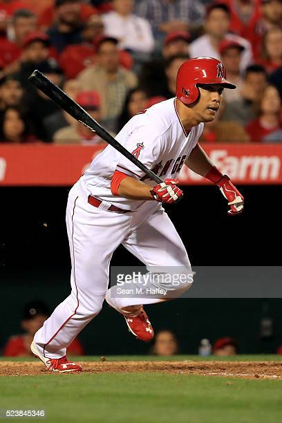 Rafael Ortega of the the Los Angeles Angels of Anaheim grounds out during the third inning of a baseball game between the Los Angeles Angels of...