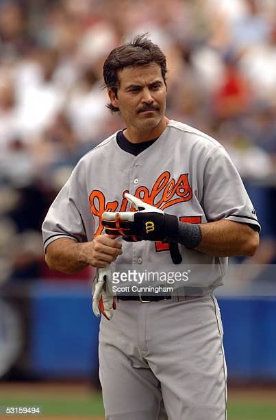 Rafael Palmeiro of the Baltimore Orioles gets stranded on base during a game against the Atlanta Braves at Turner Field on June 25 2005 in Atlanta...