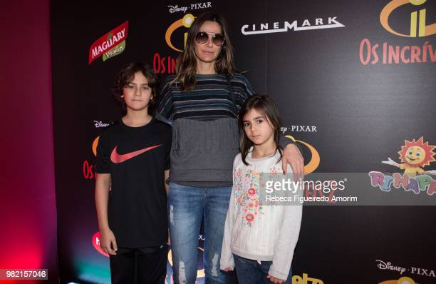 Rafael Paula Trabulsi and Miranda attend the Sao Paulo Premiere of Incredibles 2 at Shopping Market Place on June 23 2018 in Sao Paulo Brazil