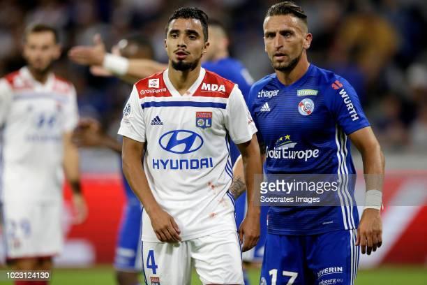 Rafael Pereira Da Silva of Olympique Lyon, Anthony Goncalves of Strasbourg during the French League 1 match between Olympique Lyon v Strasbourg at...