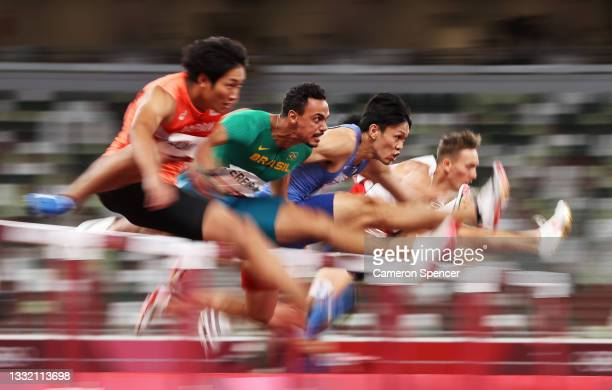 Rafael Pereira of Team Brazil competes in round one of the Men's 110m Hurdles heats on day eleven of the Tokyo 2020 Olympic Games at Olympic Stadium...