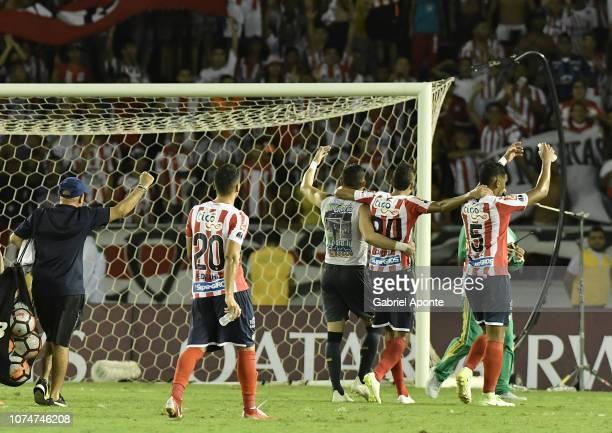 Rafael Perez Victor Cantillo Jose Luis Chunga players of junior celebrate after the semifinal second leg match between Junior and Independiente Santa...