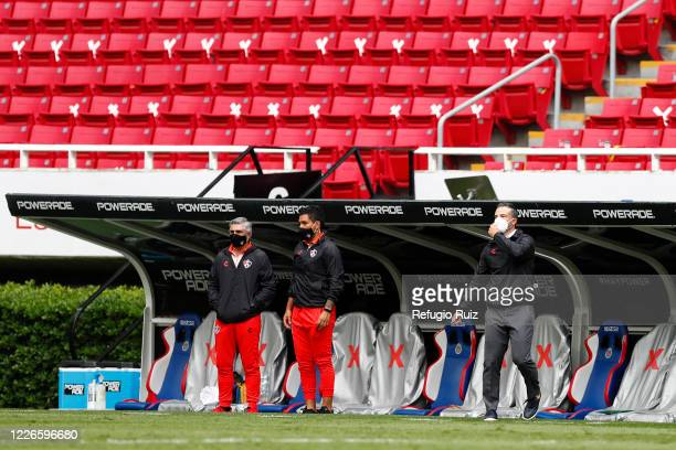 Rafael Puente coach of Atlas gestures during the match between Atlas and Tigres UANL as part of the friendship tournament Copa GNP por Mexico at...