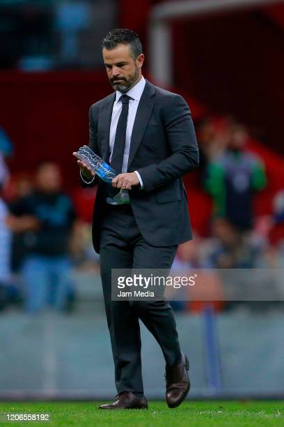 Rafael Puente coach of Atlas reacts during the 6th round match between America and Atlas as part of the Torneo Clausura 2020 Liga MX at Azteca...