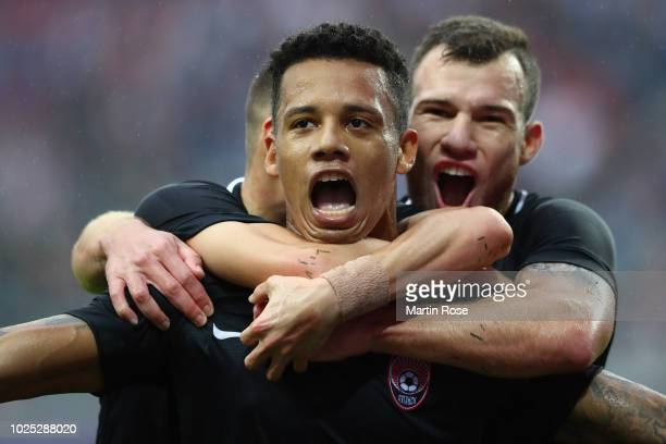 Rafael Ratao of Zorya celebrates her team's first goal during the UEFA Europa League Qualifying PlayOff second leg match between RB Leipzig and Zorya...