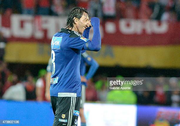 Rafael Robayo of Millonarios celebrates a scored goal during a match between Independiente Santa Fe and Millonarios as part of 20th round of Liga...