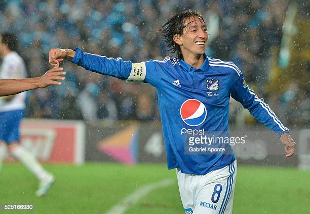 Rafael Robayo of Millonarios celebrates after scoring during a match between Millonarios and Junior as part of round 15 of Liga Aguila I 2016 at...
