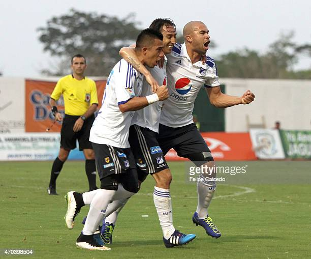 Rafael Robayo of Millonarios celebrates after scoring the first goal of his team during a match between Jaguares FC and Millonarios as part of 16th...