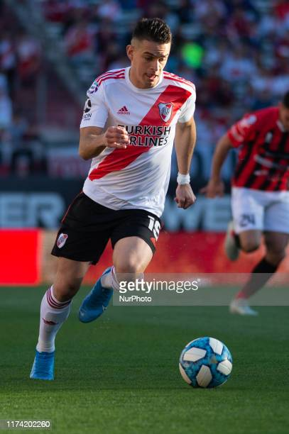 Rafael Santos Borre Drive the Ball during a match between River Plate and Patronato as part of Superliga Argentina 2019/20 at Estadio Monumental...