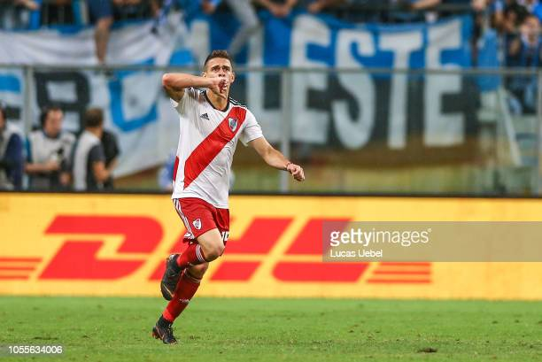 Rafael Santos Borre of River Plate celebrates after scoring the first goal of his team during the match against Gremio as part of Copa Conmebol...