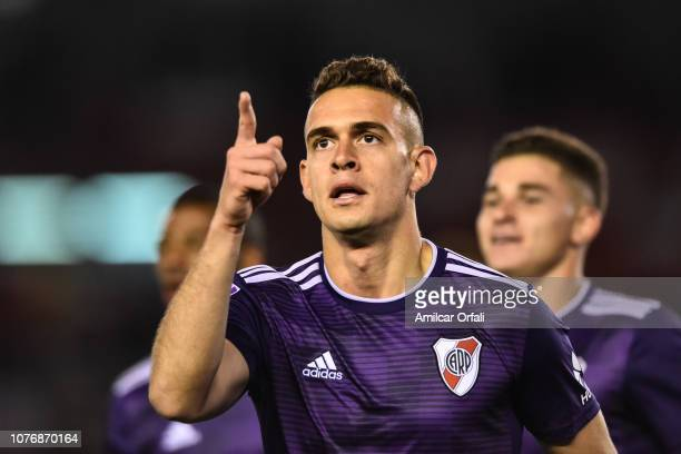 Rafael Santos Borre of River Plate celebrates after scoring the first goal of his team during a match between River Plate and Gimnasia y Esgrima La...