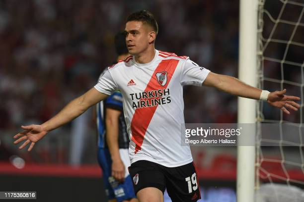 Rafael Santos Borre of River Plate celebrates after scoring the first goal of his team during a match between River Plate and Almagro part of Quarter...