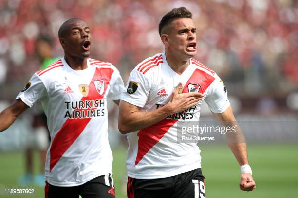 Rafael Santos Borre of River Plate celebrates after scoring the first goal of his team during the final match of Copa CONMEBOL Libertadores 2019...