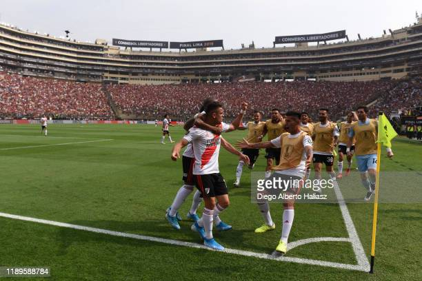 Rafael Santos Borre of River Plate celebrates after scoring the first goal of his team with teammates during the final match of Copa CONMEBOL...
