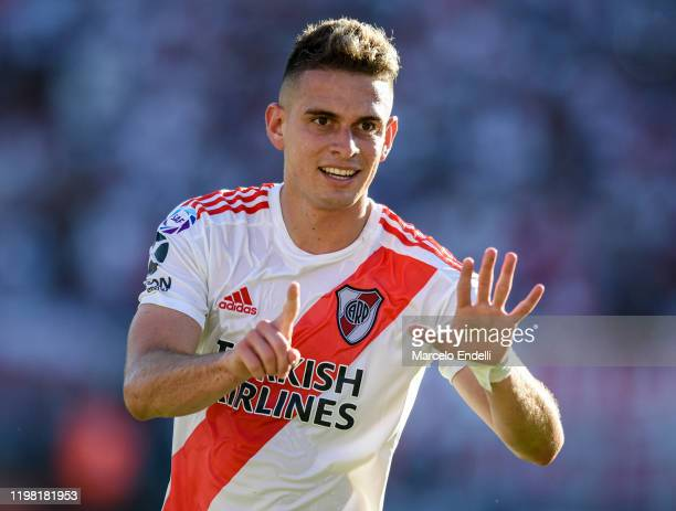 Rafael Santos Borre of River Plate celebrates after scoring the first goal of his team during a match between River Plate and Central Cordoba de...
