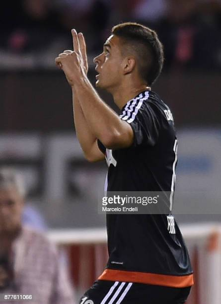 Rafael Santos Borre of River Plate celebrates after scoring the first goal of his team during a match between River and Union as part of Superliga...