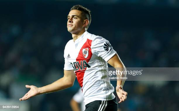 Rafael Santos Borre of River Plate celebrates after scoring the first goal of his team during a match between Racing Club and River Plate as part of...