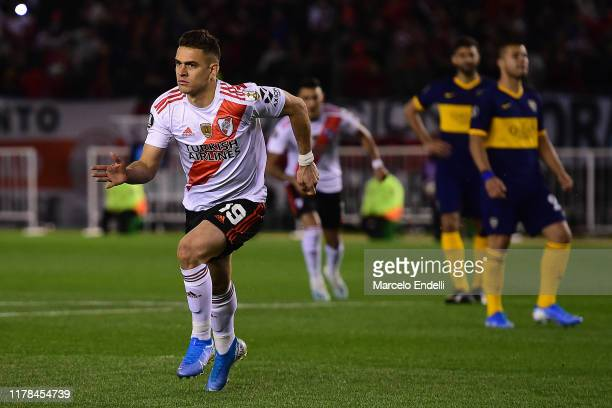 Rafael Santos Borre of River Plate celebrates after scoring the opening goal via penalty after a VAR review during the semi final first leg match...