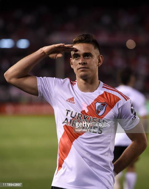 Rafael Santos Borre of River Plate celebrates after scoring the second goal of his team during a match between River Plate and Colon as part of...