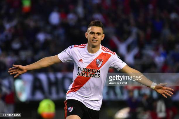 Rafael Santos Borre of River Plate celebrates after scoring the second goal of his team during a match between River Plate and Patronato as part of...