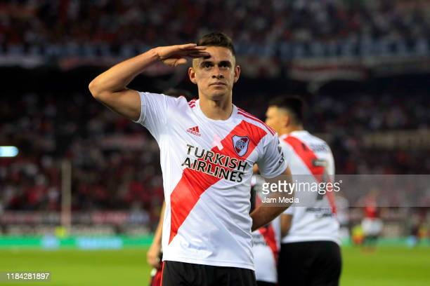 Rafael Santos Borre of River Plate celebrates after scoring the second goal of his team during a match between River Plate and Colón as part of...