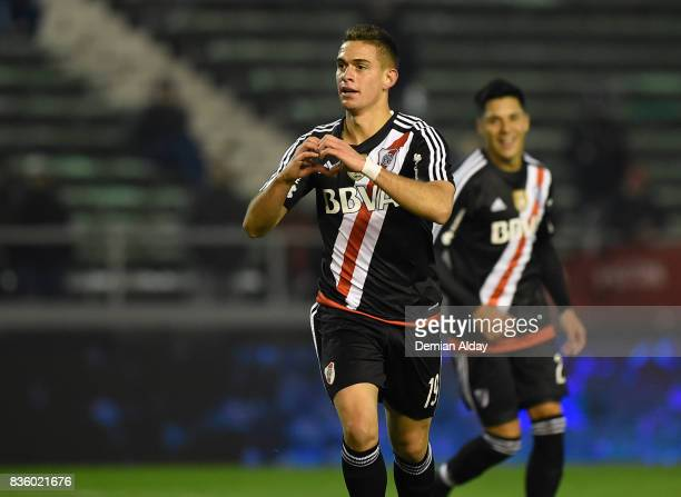 Rafael Santos Borre of River Plate celebrates after scoring the fourth goal of his team during a match between River Plate and Instituto as part of...