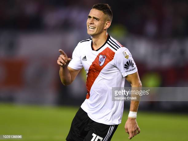 Rafael Santos Borre of River Plate celebrates after scoring the third goal of his team during a round of sixteen second leg match between River Plate...
