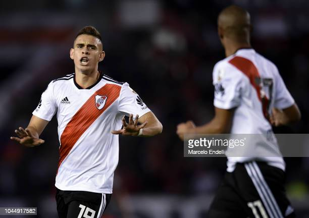 Rafael Santos Borre of River Plate celebrates after scoring the third goal of his team during a quarter final second leg match of Copa CONMEBOL...